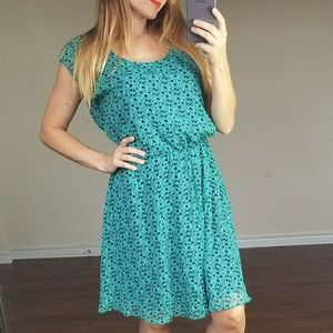 Gap green & blue heart flower midi dress L